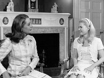 Tricia Nixon speaks with Barbara Walters