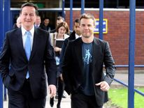 David Cameron Visits A School With Singer Gary Barlow