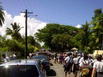 Evacuation up Ratu Sukunu Road, Fiji
