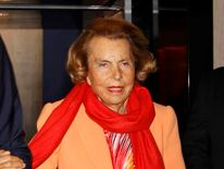 Liliane Bettencourt, heiress to the L'Oreal fortune leaves the L'Oreal-UNESCO prize for women in Paris