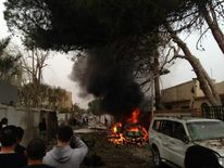 The damaged French embassy in the Libyan capital of Tripoli Pic: @Eh4b10