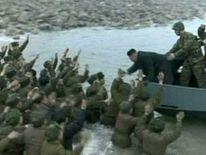 Kim Jong-Un meets troops