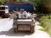 A British UN Protection Force armoured vehicle in Bosnia