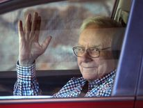 Warren Buffett in Sun Valley, Idaho, this month