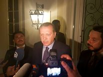 Turkish President Tayyip Erdogan speaks to media in the resort town of Marmaris