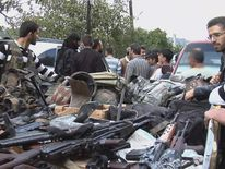 Cache of weapons swized by Syrian rebels in northern Syria.