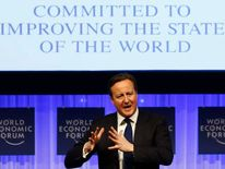 Britain's Prime Minister David Cameron speaks during session of World Economic Forum in Davos