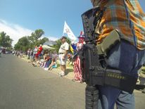Gun rights group carries long guns in public. Pic: Open Carry Texas