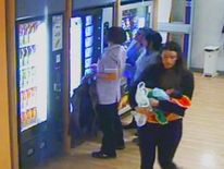 A still from a CCTV recording of Charlotte Bevan in the hospital entrance.