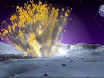 An artist's impression of a lunar meteorite strike. Pic: Nasa