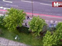 Screengrabs from video showing scenes in Woolwich where soldier Lee Rigby was killed by two knife wielding men