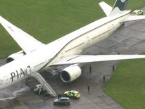 A Pakistan International Airlines plane forced to make an emergency landing at Stansted