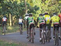 A group of cyclists train in Kenya