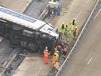 Lorry overturned on M25