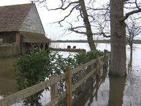 Flooding in Muchelney, Somerset, cuts village off