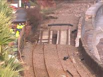 Damaged railway tracks in Dawlish, Devon