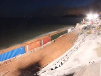 The Dawlish railway line wrecked by storms.