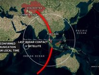Map of possible Malaysian plane route
