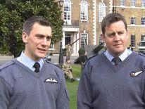 RAF Flight Lieutenant Charlie Lockyear and Master Aircrew Bob Sunderland.
