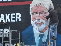 Mural of Gerry Adams is painted on Belfast's Falls Road