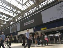 Artwork displayed on a railway station billboard as part of the Art Everywhere project