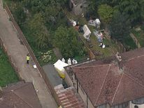 Ariel view of garden where woman found beheaded