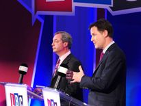 Nigel Farage (L) and Nick Clegg