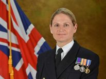 Commander Sarah West in Naval uniform