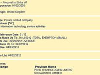 Details of the company on the Companies House website