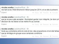 Nicolas Anelka's tweets