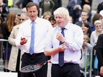 David Cameron and Boris Johnson at a tennis match