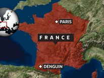 A map showing the location of Denguin in southern France.