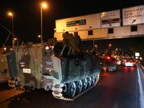 The Turkish Army's tanks on the move in Istanbul