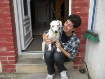 Ethan the dog with Sabrina Zamora.