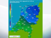 A map showing variation in temperature between north and south Netherlands