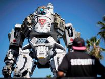 "A prop depicting a character from the video game ""Titanfall"" is on display before the opening day of the Electronic Entertainment Expo, or E3"