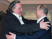 French actor Gerard Depardieu, left, greets Russian President Vladimir Putin