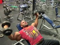 U.S bodybuilder Mustafa Ismail pictured here in the gym.