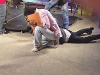 Magician lying on floor
