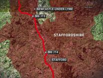Map of M6 Crash at Staffordshire