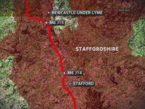 Map of M6 Crash at Staffordshire
