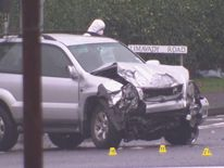 Suspected stolen car after crash