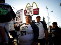 A fast food protest by a McDonald's restaurant in Los Angeles, California
