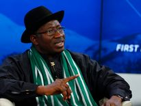 Goodluck Jonathan speaks during a session at World Economic Forum in Davos