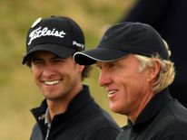 Adam Scott with Greg Norman in 2008