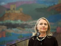 Hillary Clinton during a news conference in Croatia