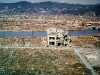 The city of Hiroshima showing damage wrought by the atomic bomb