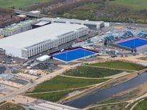 Aerial view of the IBC and Hockey pitches in the London 2012 Olympic Park
