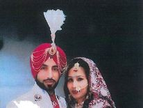 Jasvir Ginday and Varkha Rani on their wedding day