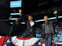 Jay-Z, Barack Obama and Bruce Springsteen in Columbus, Ohio.